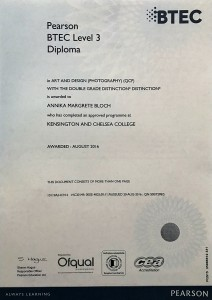 National Diploma in Art and Design (Photography) with double Distinction Grade